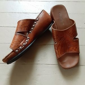COLE HAAN Country Tooled Leather Slip On Wedges